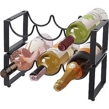2 Tier Wine Racks Countertop Metal 6 Bottles, Free-Standing Wine Rack Stackable for Home Decor Bar Wine Cellar Basement Cabinet Pantry