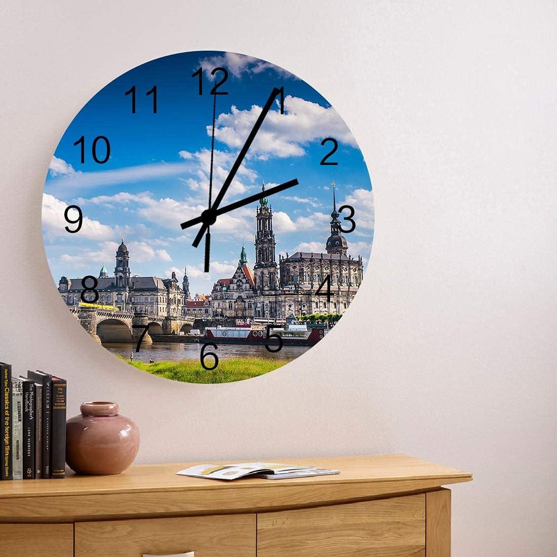 Reloj de pared de madera redondo silencioso sin tictac de 10 pulgadas, casco antiguo de Ston de Alemania con casa bajo el cielo azul, reloj de manos con números romanos, decoración del hogar para coci