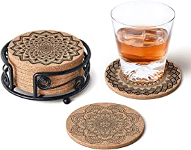 """Natural Cork Coasters with Metal Holder-set of 8-4"""" x 4"""" -1/5"""" Thick Absorbent Heat-Resistant - Round Edges Best for for Cold Drinks, Wine Glasses, Cups & Mugs"""