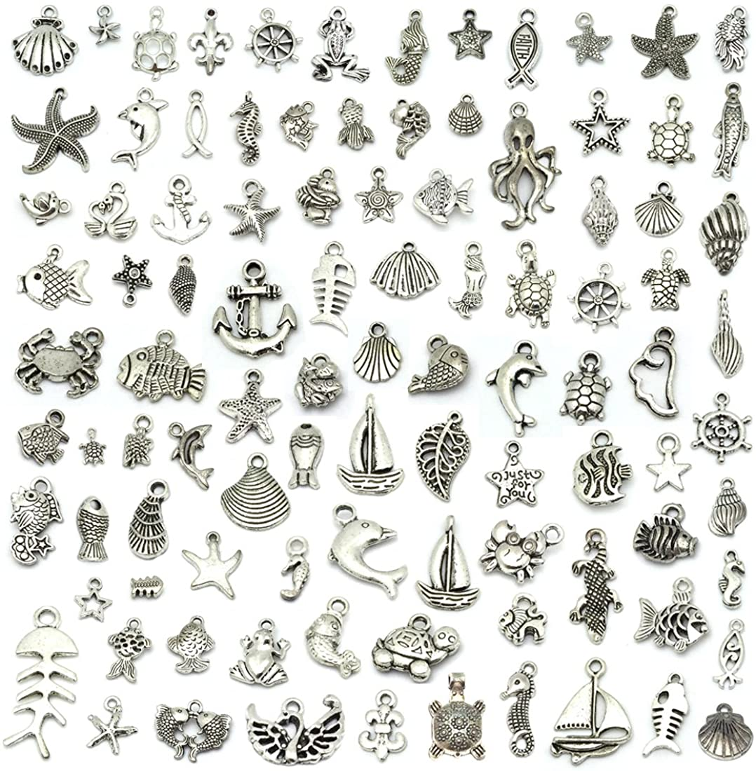 JIALEEY Wholesale 100 Pieces Mix Co Pendant Free shipping Antique Atlanta Mall Silver Charm