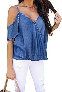 MAXIMGR Women's Sexy Spaghetti Strap V Neck Denim T-Shirt Cold Shoulder Ruffle Sleeve Blouse Tops