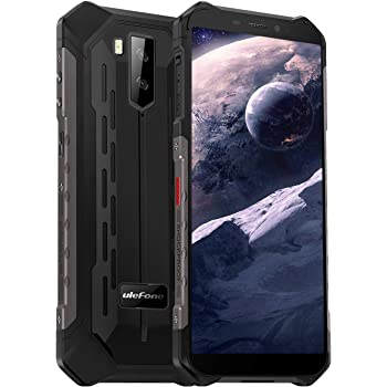 Rugged Smartphone Ulefone Armor X5 (2019), Waterproof IP68 Dual SIM Unlocked Phones, Global 4G LTE, Android 10, 3GB+32GB, 5000mAh Battery, Face Recognition, Bluetooth, NFC, Compass -Black