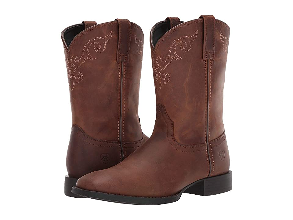 Ariat Roper Wide Square Toe (Distressed Brown) Cowboy Boots