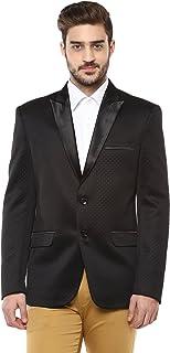 LUXURAZI Black Macro Dotted Self Textured Partywear Tuxedo Blazer