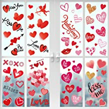 GMAOPHY 311 Pcs Valentine's Day Window Clings Decorations - 8 Sheet Heart Party Ornaments Supplies- Anniversary, Wedding, Birthday Party Decorations - for Home Office Valentines Day Decor