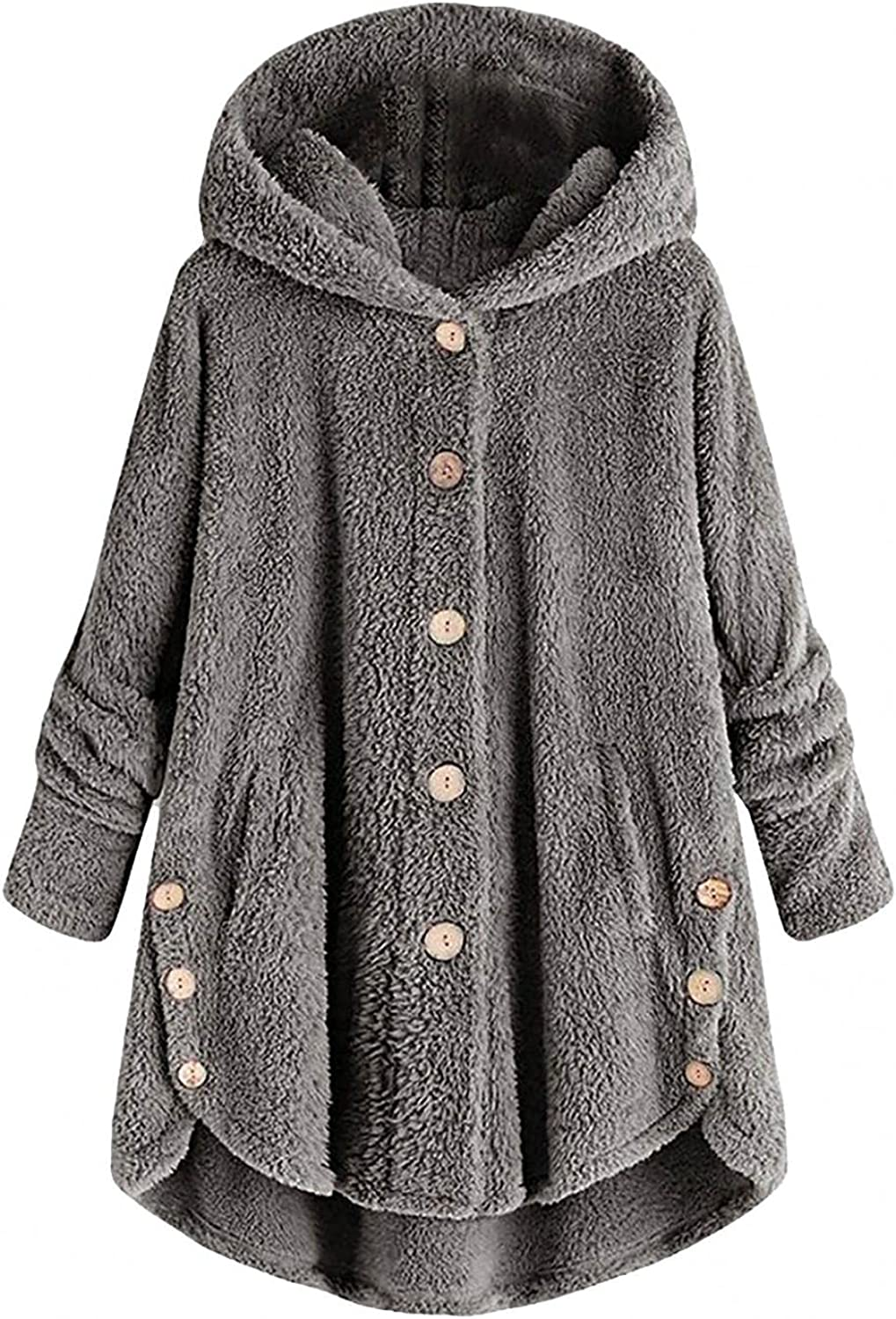 Womens Thigh Length Winter Jacket Button Wool Coat Plus Size Fluffy Fleece Teddy Coat Hooded Outwear with Pocket