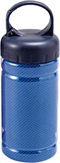 コモライフ ボトル付クールタオル ブルー 冷却タオル ひんやり クール スポーツタオル 吸収 速乾 暑さ対策 振るだけ 熱中症対策 タオル:約縦30×横120cm、ボトル:約径6.7×高18.5cm 390147