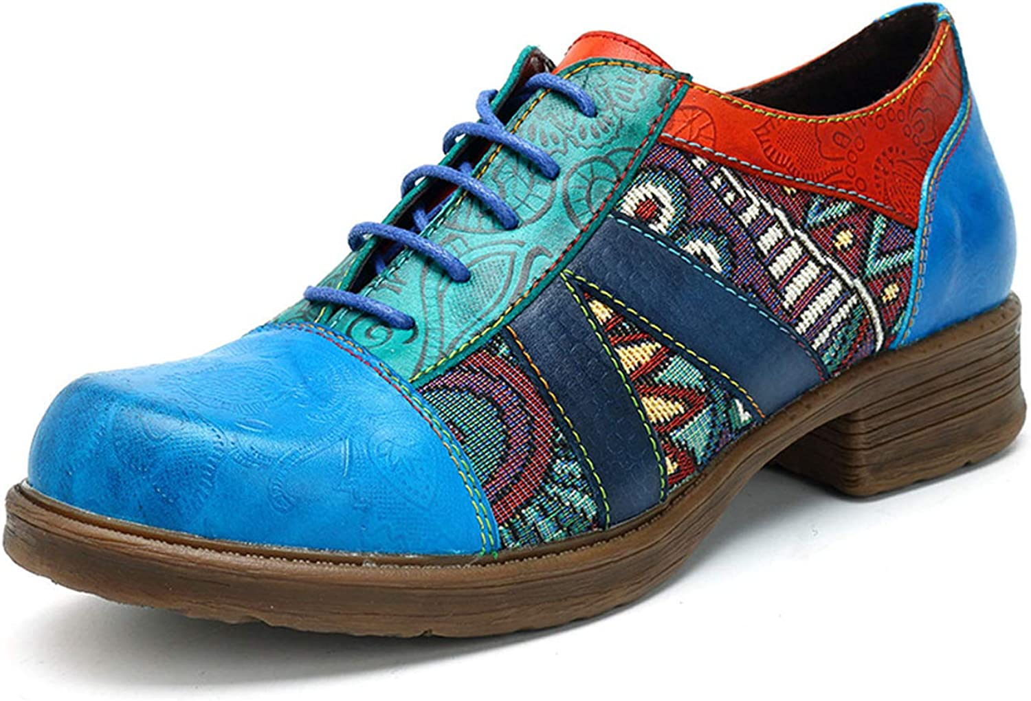 Honeystore Women's shoes Round Toe Retro Carving Print Leather Lace-up Oxford Flats