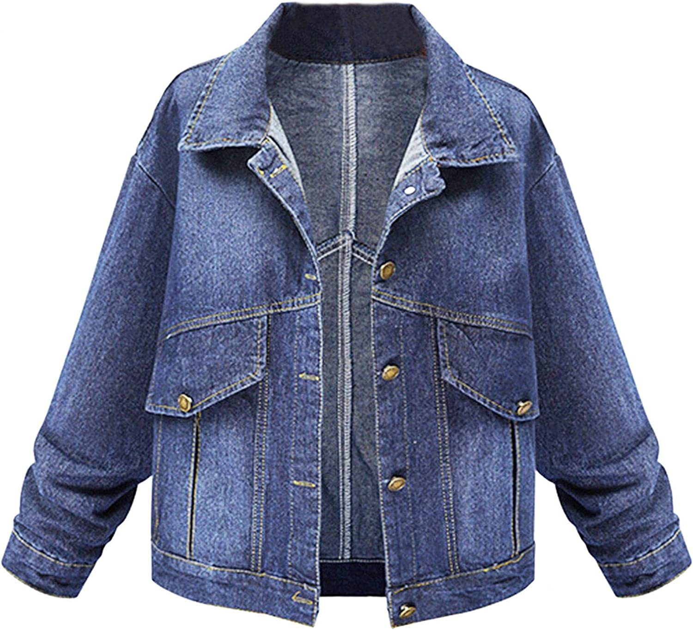 Kcocoo Zipper Denim Jackets for Women Long Sleeve Lapel Coat Winter Casual Top Outerwear Classic Distressed Trucker Jacket