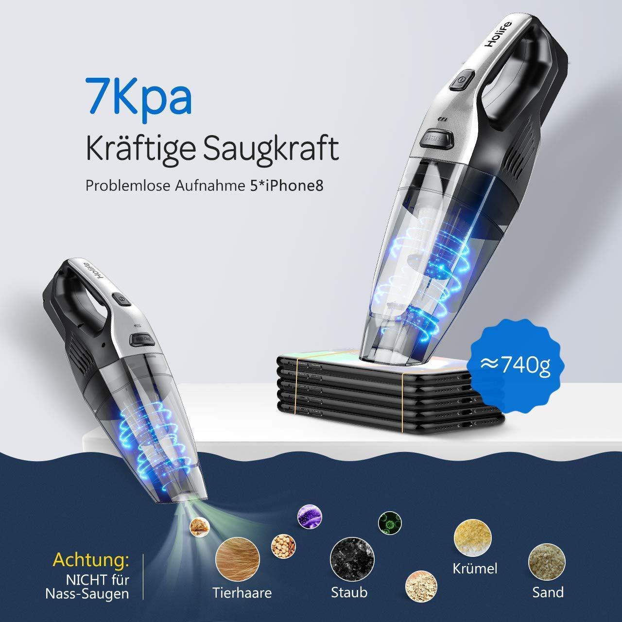 Holife 7000Pa Aspiradora de mano sin bolsa, 90 W/2200 mAh (filtro de acero inoxidable duradero,