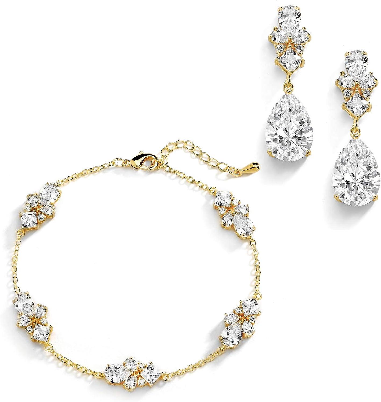 Mariell CZ Bridal Bracelet & Matching Earrings, 14K Gold Jewelry Set Adjustable Bracelet 7 ¼