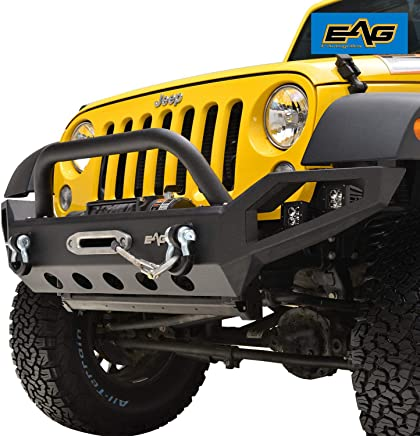 EAG Front Bumper Full Width with LED Lights and Winch Plate for 07-18 Jeep