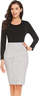 Zeagoo Women's Long Sleeve Solid Striped Print Work Cocktail Party Pencil Dress