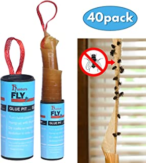 Hywean 40 Piezas de Papel Fly Catcher, Juego de Moscas de Frutas pegajosas para Interiores y Exte...