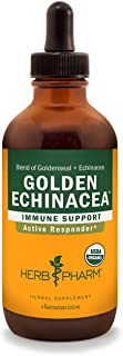 Herb Pharm Certified Organic Golden Echinacea Liquid Extract for Immune System Support, Organic Cane Alcohol, 4 Ounce