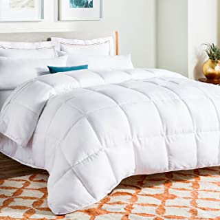 LINENSPA All-Season White Down Alternative Quilted Comforter - Corner Duvet Tabs - Hypoallergenic - Plush Microfiber Fill - Machine Washable - Duvet Insert or Stand-Alone Comforter - Full
