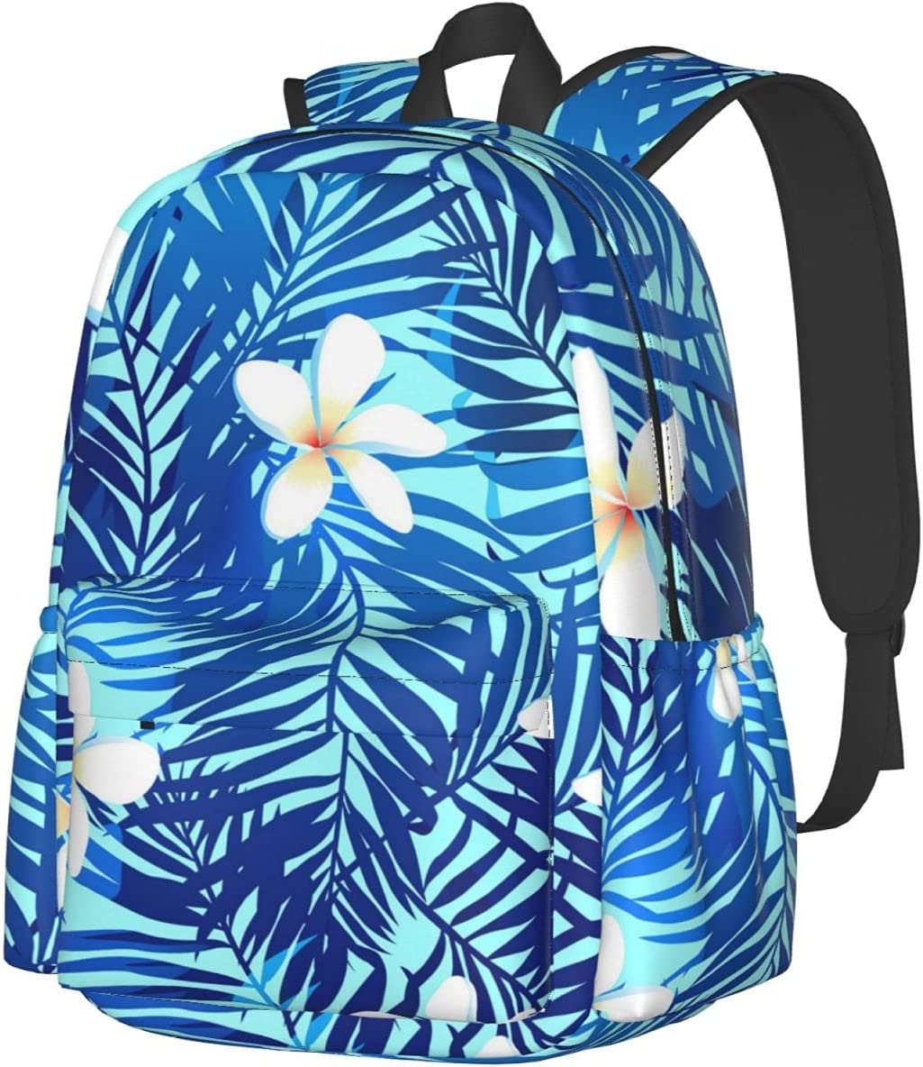 White Flowers Surprise price Tropical Leaves Backpack Casual Fashion Multipurpo Chicago Mall