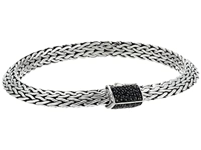 John Hardy 6.4 mm Classic Chain Tiga Chain Bracelet with Pusher Clasp with Black Sapphire (Sterling Silver) Bracelet