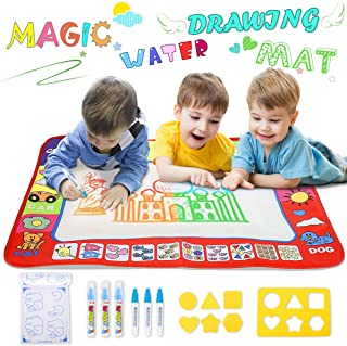 YEEGO Doodle Drawing Mat, Large Size Aqua Doodle Magic Water Painting Doodle Mat 32''x24'' with 4 Colors 6 Pens 6 Molds Booklet Coloring Mat for Boy Girl(Large Size)