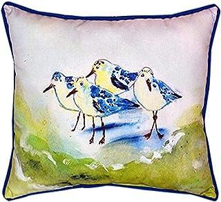 """Betsy Drake SN956 Green Sanderlings Pillow, 11"""" x14"""""""