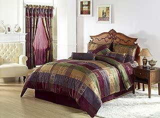 Chezmoi Collection Gitano Jacquard Patchwork 7-Piece Bedding Set, Queen, Multi Color