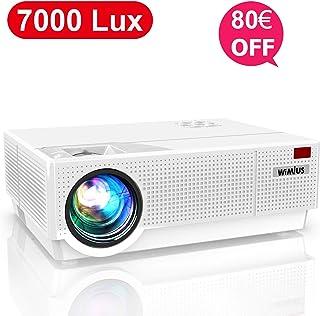 Proyector, WiMiUS 7000 Lúmenes Proyector Full HD 1920x1080P Proyector Cine en Casa Soporte 4K Contraste 10000: 1 Ajuste Digital 4D Pantalla 300