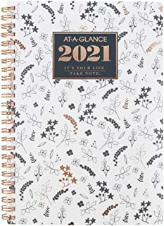 "2021 Weekly & Monthly Planner by AT-A-GLANCE, 5-1/2"" x 8-1/2"", Small, Poly, BADGE Floral (1450L-200-21)"