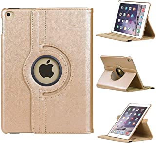 """Povinmos Apple 2018 iPad Pro 12.9"""" 3rd Gen PU Leather Case Cover w/ 360 Rotating Stand (Gold)"""