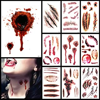 Pack of 9 Halloween horror realistic wound scar temporary tattoo stickers Facial body fun waterproof tattoo stickers Fun H...