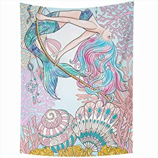 Ahawoso Tapestry 60x90 Inch Watercolor Coral Hand Drawn Page Grace Mermaid Fish Underwater People Coloring Tail Adult Beautiful Beauty Book Tapestries Wall Hanging Home Decor Living Room Bedroom Dorm