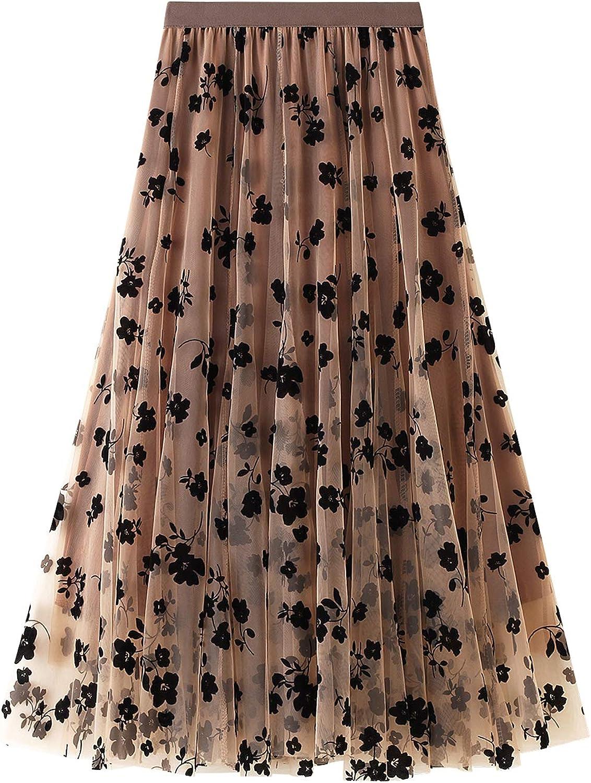 Women Tutu Tulle Skirts, Elastic High Waist Floral Print Mesh Overlay Layered A Line Midi Skirt