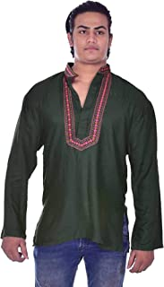 Indian 100% Cotton Men's Shirt Embroidered Kurta Tunic Plus Size Loose fit Bottle Green Color