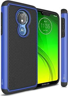 CoverON Heavy Duty Hybrid HexaGuard Series for Motorola Moto G7 Power/Moto G7 Supra/Moto G7 Optimo Maxx (XT1955DL) Case, Blue on Black