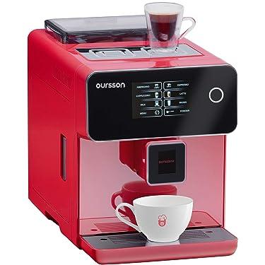 Kaffeevollautomat Oursson, mit bohnen Mahlwerk, Timerfunktion,Touchscreen, Keramikmühle, 19 Bar, Rot, AM6250/RD