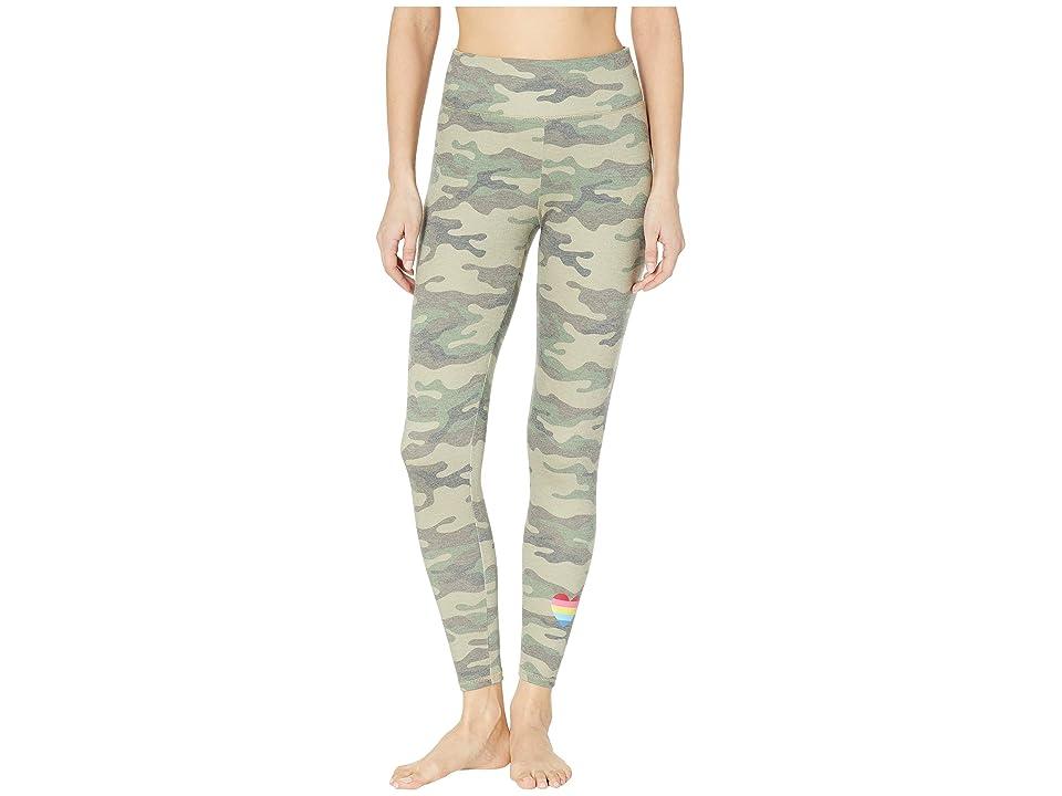 P.J. Salvage Camo High-Waisted Leggings (Olive) Women