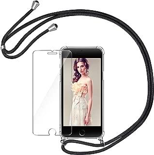 AROYI Handykette Handyhülle + Panzerglas Schutzfolie für iPhone 7 iPhone 8 Hülle mit Kordel zum Umhängen Necklace Hülle mit Band Schutzhülle Transparent Silikon Acryl Case für iPhone 7/8