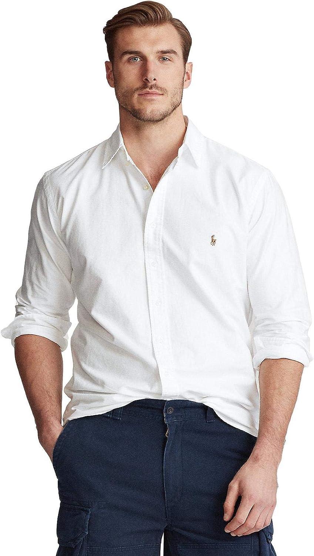 Polo Ralph Lauren Men's Big and Tall Long Sleeves Classic Fit Oxford Buttondown Shirt (2XLT, BSR White)
