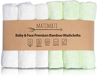 "Matimati Rayon از بامبو عزیزم (6 بسته) - حوله های نرم و جذب برای پوست حساس کودک - کامل 10 ""X10"" دستمال مرطوب قابل استفاده مجدد - عالی دوش / رجیستری هدیه"