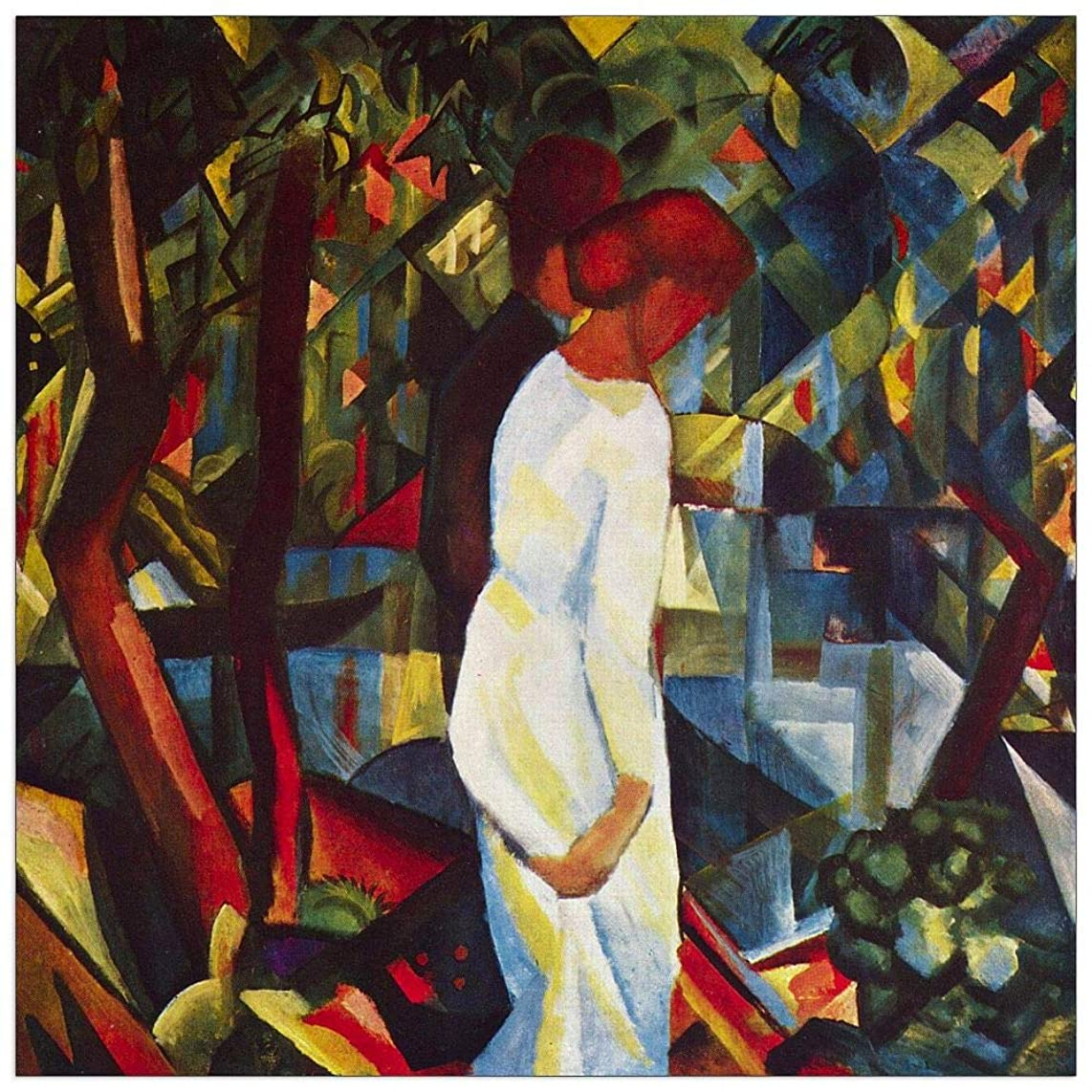 ArtPlaza TW91372 Macke August - Couple in The Forest Decorative Panel 15.5x15.5 Inch Multicolored
