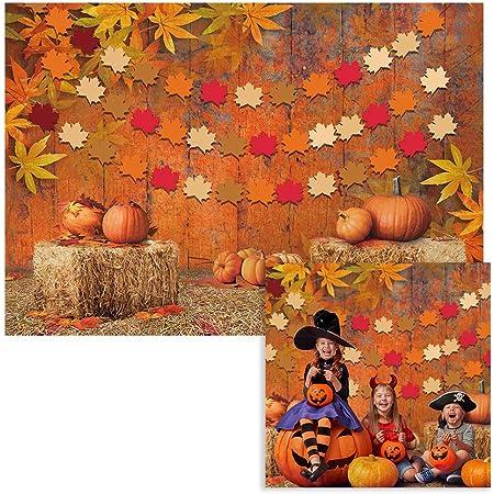 5X7FT Vinyl Photography Backdrop Thanksgiving Day Golden Leaves Pumpkin Chrysanthemum White Brick Wall Vintage Wood Floor Autumn Background Baby Kids Adults Photo Studio Props