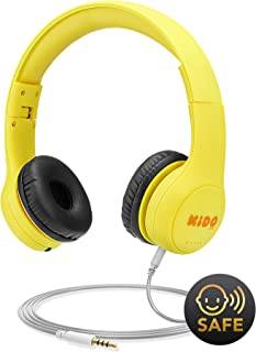 Kids Headphones with VoliBolt Ears, Mumba Wired Over-Ear Headphones with Music Sharing Function, 85dB Volume Limited Hearing Protection, 3.5mm Jack (HS01) Headset for Children Large(Age 3-9) Yellow