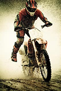 Dirt Bike Rider Splashing Water Photo Art Print Laminated Dry Erase Sign Poster 12x18
