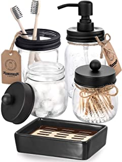 AOZITA Mason Jar Bathroom Accessories Set 5 Pcs - Mason Jar Soap Dispenser & 2 Apothecary Jars & Toothbrush Holder &Cerami...