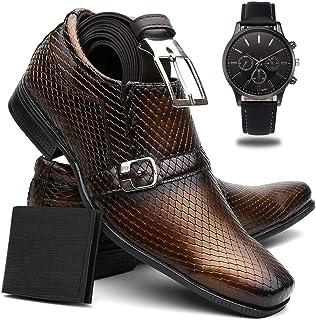 Sapato Social Masculino Couro Color + Cinto + Carteira + Relógio