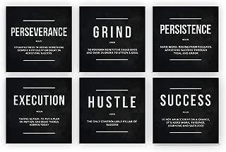 6X Motivational Wall Art Office Decor Canvas Prints Grind Hustle Success Execution Persistence Perseverance Definition Framed Entrepreneur Bundle Set 6 Piece (6X - 12
