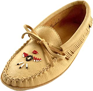 Laurentian Chief Women's Beaded Fringed Soft Sole Moosehide Leather Moccasins