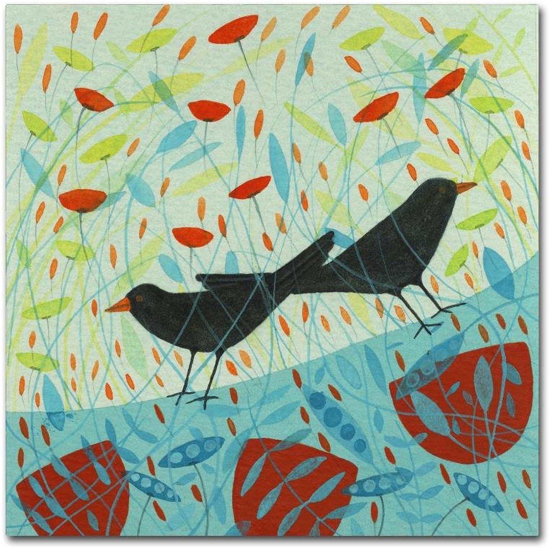 Trademark Fine Art ALI10885-C1414GG Blackbirds by Michelle Campbell, 14x14