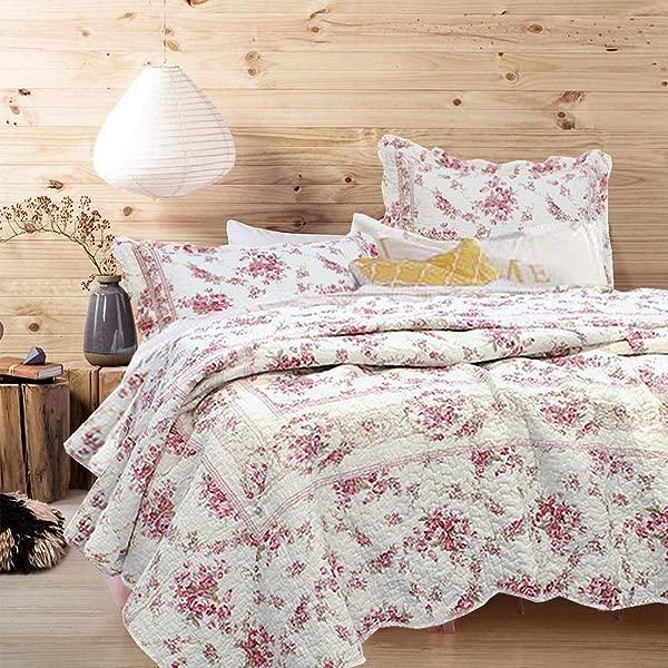 Cozy Line Home Fashions Vintage Rose 3 Piece Quilt Bedding Set Pink Floral Flower Printed 100 Cotton Reversible Coverlet Bedspread For Women Rose King 3 Piece