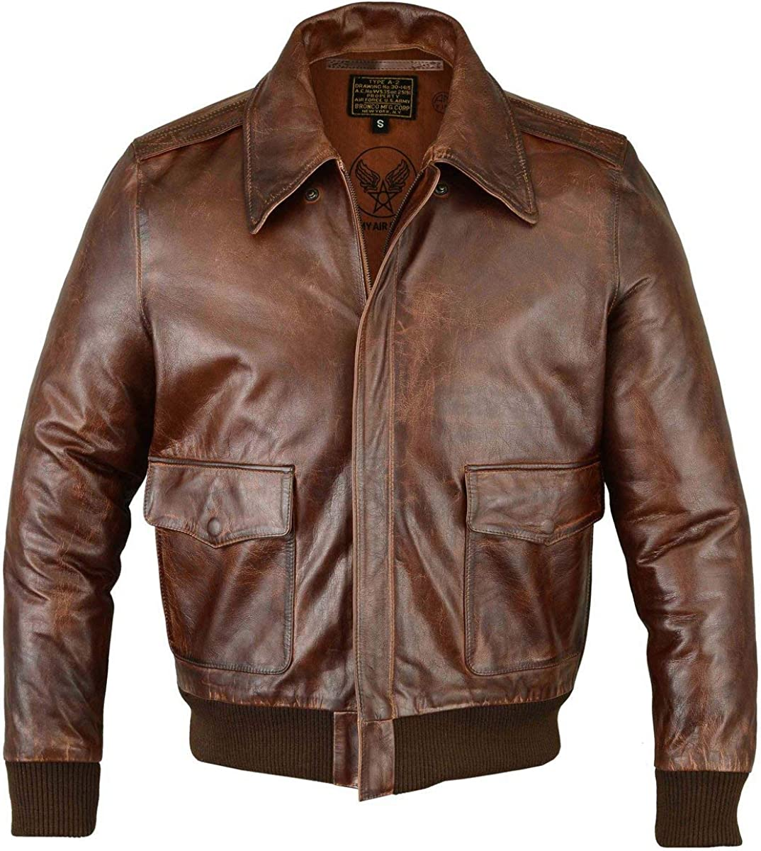 FiveStar Leathers Men's Air Force A-2 Leather Flight Bomber Jacket (XL) Brown