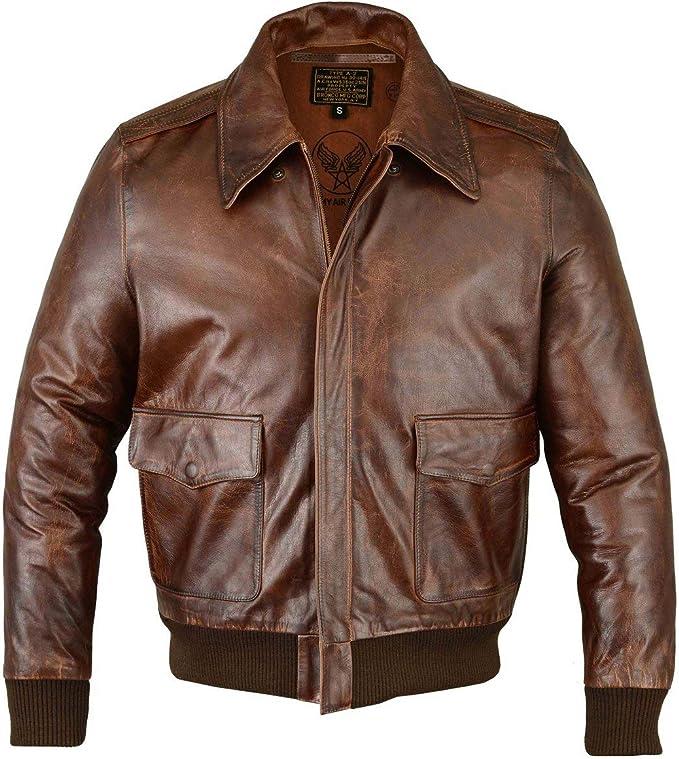 Men's Vintage Jackets & Coats FIVESTAR LEATHER Mens Air Force A-2 Leather Flight Bomber Jacket (Regular and Big & Tall)  AT vintagedancer.com